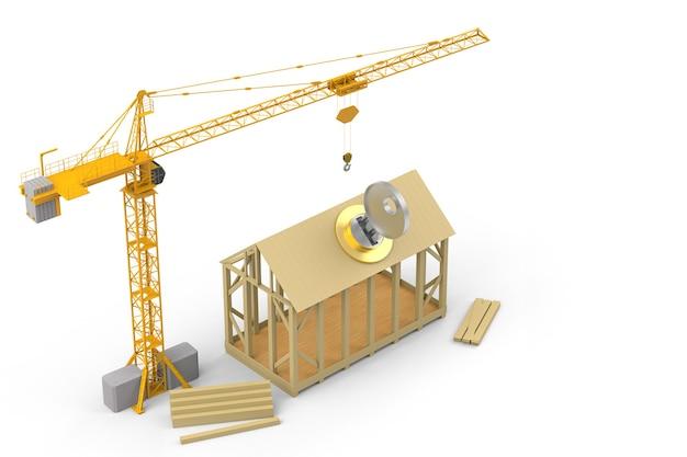 Bouw huis op witte achtergrond met sleutel. 3d-rendering