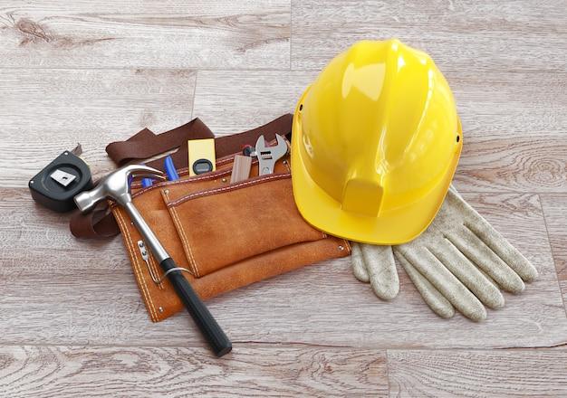 Bouwersuitrusting - blauwdrukken van architectuurinterieur, beschermende handschoenen en industriële helm. 3d-weergave.
