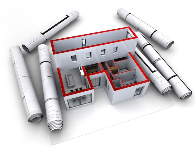 Bouwkundig model van een ontwerperswoning met opgerolde blauwdrukken