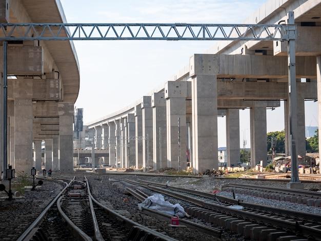 Bouwplaats van de nieuwe spoorweg.