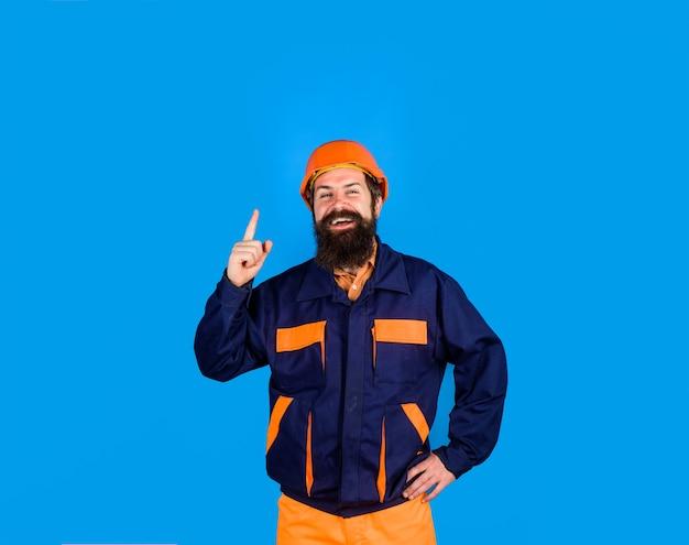 Bouwvakker zakelijke bouwindustrie technologie mechanische arbeider bouwer in harde hoed man ...