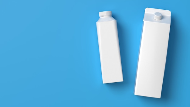 Boven bekeken fles en pakket met liggende melk