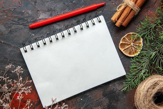 Boven het zicht op dennentakken gesloten spiraalvormig notitieboekje kaneel limoenen conifer kegel een bal van touw op rode achtergrond