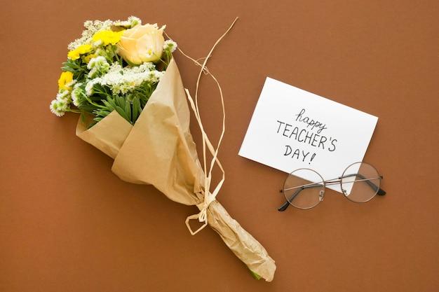 Boven weergave bloemen boeket