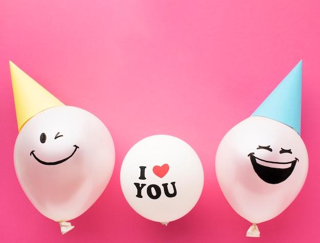 Boven weergave frame met schattige ballonnen