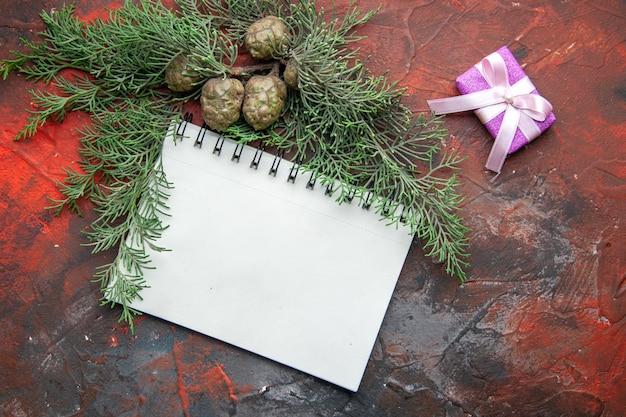 Boven weergave van dennentakken paarse kleur geschenk en gesloten spiraal notebook op rode achtergrond