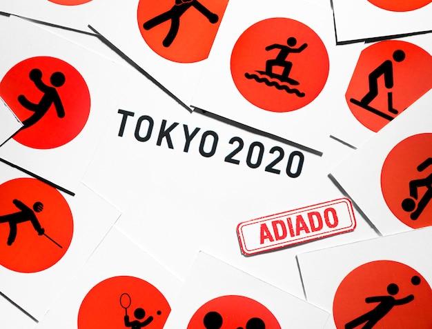 Bovenaanzicht 2020 sportevenement uitgesteld assortiment