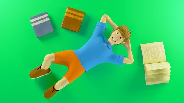Bovenaanzicht 3d render jongen vaststelling met boeken rond geïsoleerd op groene achtergrond