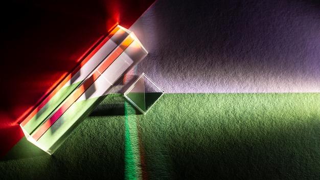 Bovenaanzicht abstract licht prisma-effect