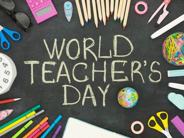 Bovenaanzicht accessoires gelukkig lerarendag concept