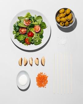 Bovenaanzicht arrangement flexitarisch dieet