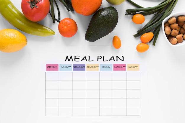 Bovenaanzicht arrangement maaltijdplan