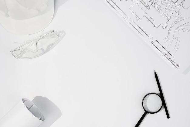 Bovenaanzicht arrangement met bouwartikelen