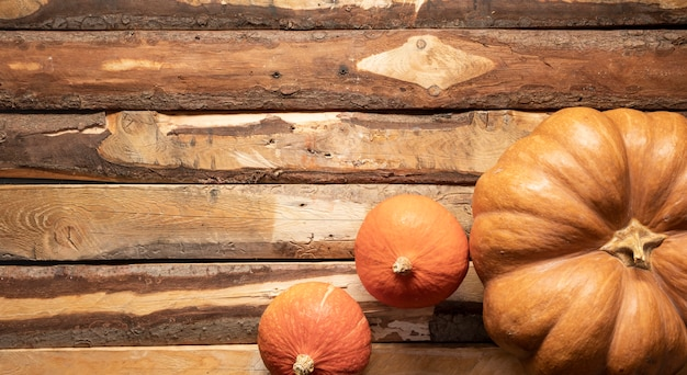 Bovenaanzicht arrangement met pompoenen van verschillende grootte