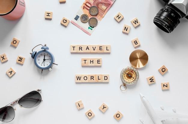Bovenaanzicht arrangement reiselementen