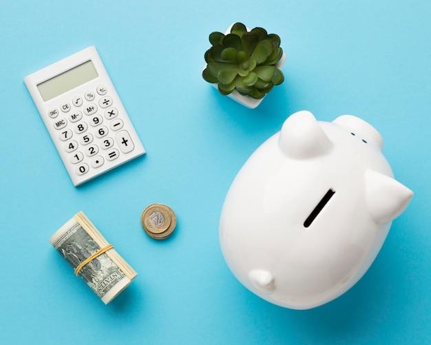 Bovenaanzicht arrangement van financiële elementen