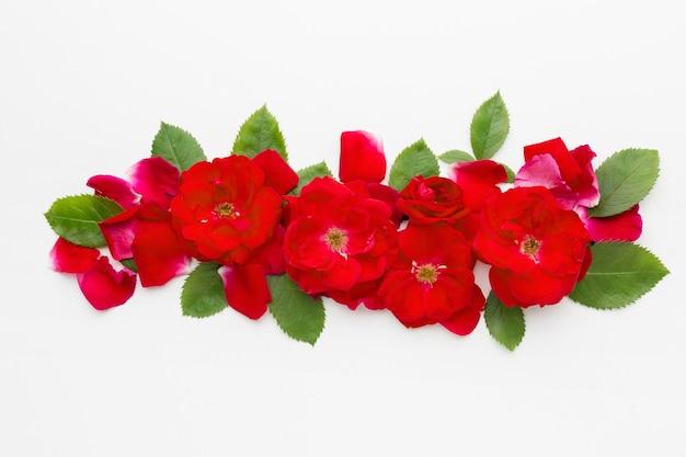 Bovenaanzicht arrangement van ijsberg rozen