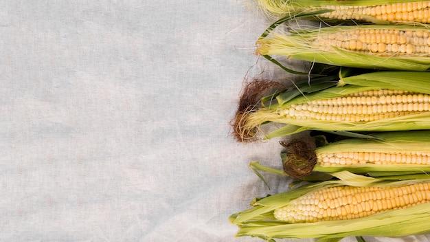 Bovenaanzicht arrangement van maïs met kopie ruimte