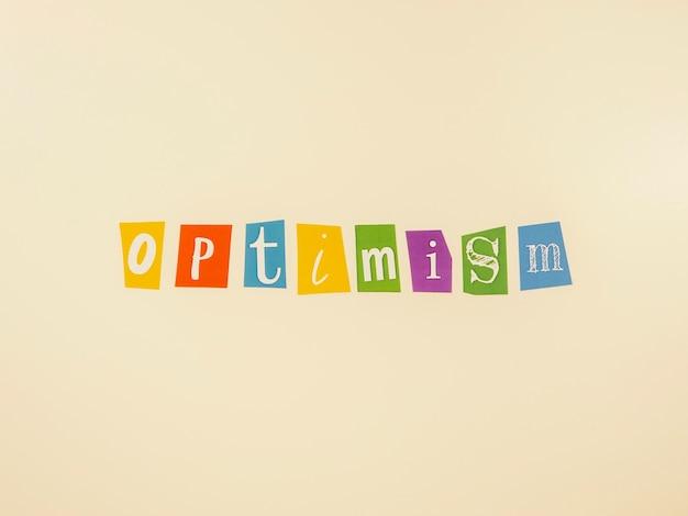 Bovenaanzicht arrangement van optimisme conceptelementen
