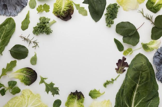 Bovenaanzicht arrangement van salade bladeren