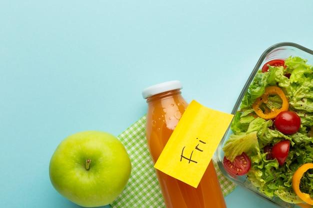 Bovenaanzicht arrangement van voedselplanning