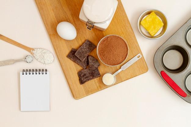 Bovenaanzicht arrangement voor muffins