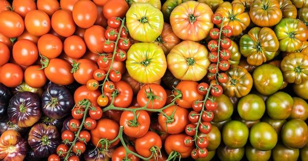 Bovenaanzicht assortiment tomaten van vele soorten, gezonde voeding ,.