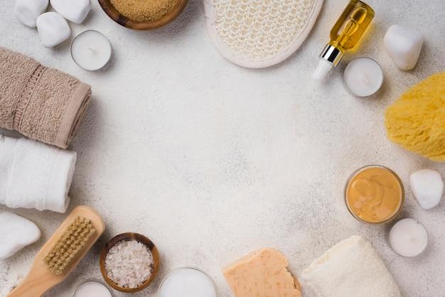 Bovenaanzicht assortiment van spa-behandeling