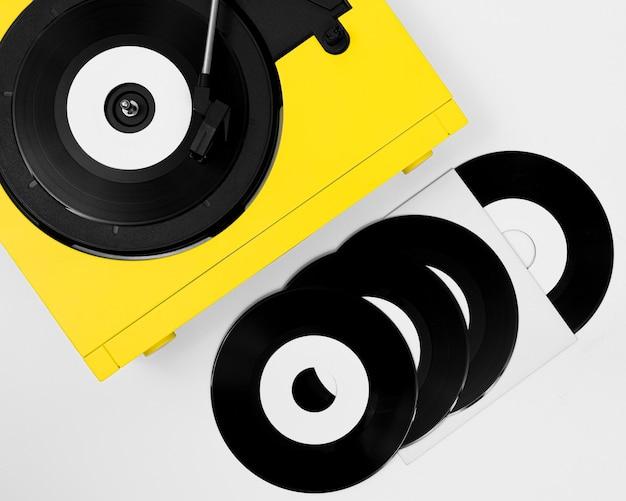 Bovenaanzicht assortiment vinylverpakkingen