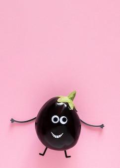 Bovenaanzicht aubergine met kopie ruimte