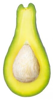 Bovenaanzicht avocado in tweeën gesneden geïsoleerd op witte ruimte