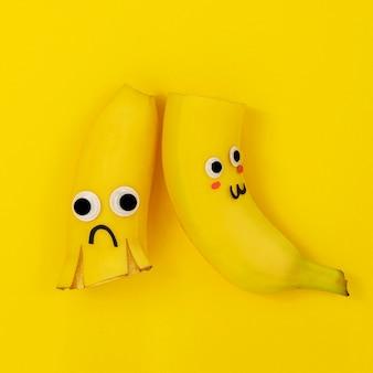 Bovenaanzicht bananen arrangement