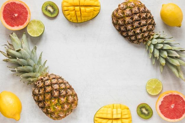 Bovenaanzicht biologische ananas met grapefruit en kiwi