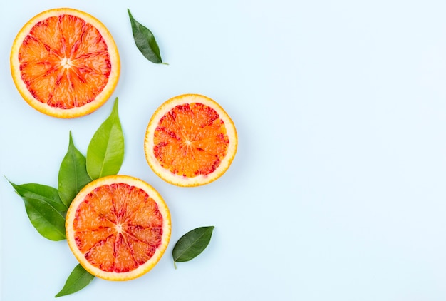 Bovenaanzicht biologische grapefruit met kopie ruimte
