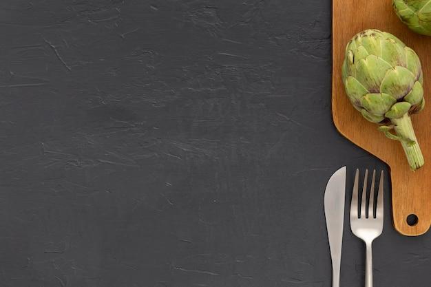 Bovenaanzicht biologische groente met kopie ruimte