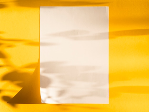 Bovenaanzicht blanco papier met schaduwen