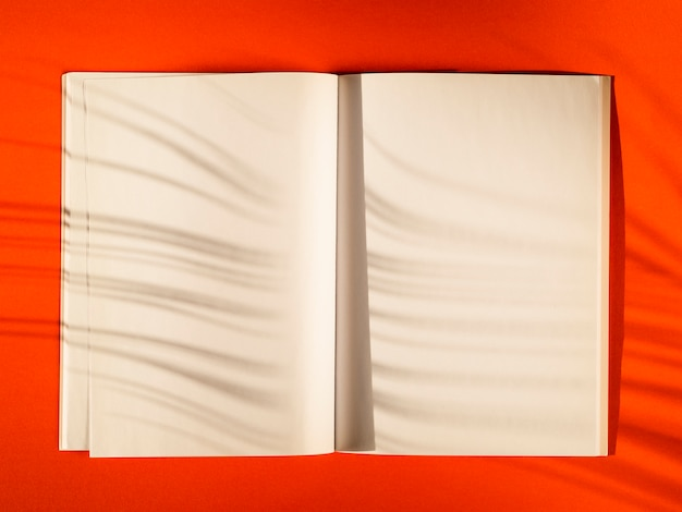 Bovenaanzicht blanco papieren met schaduwen