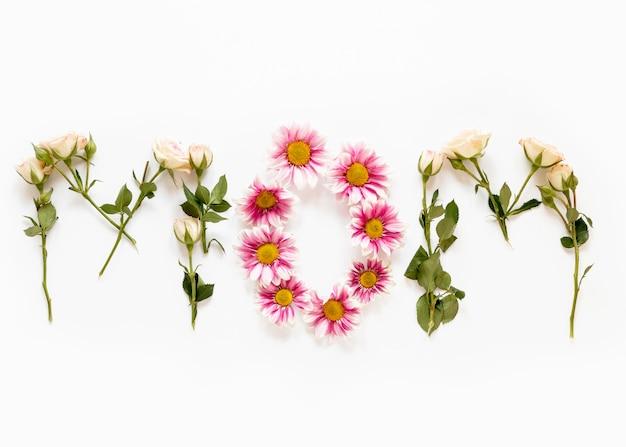 Bovenaanzicht bloemen arrangement