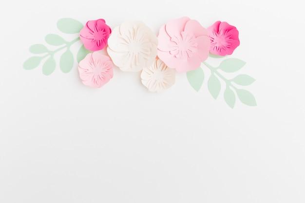 Bovenaanzicht bloemendocument ornament met exemplaar-ruimte