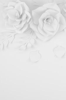Bovenaanzicht bloemstuk met kopie-ruimte