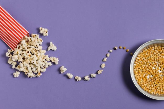 Bovenaanzicht bpwl met popcorn maïs