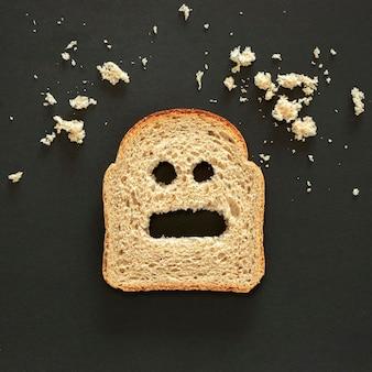 Bovenaanzicht brood uiten gevoel