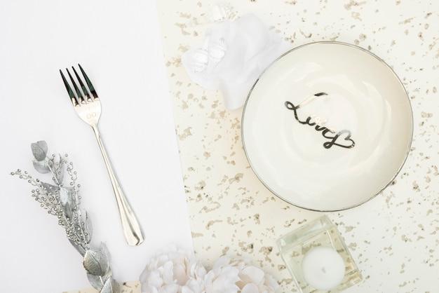 Bovenaanzicht bruiloft tafel ontwerp