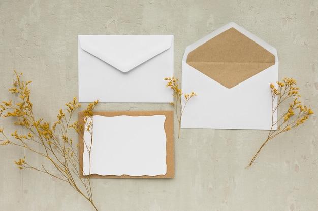 Bovenaanzicht bruiloft uitnodigingskaart