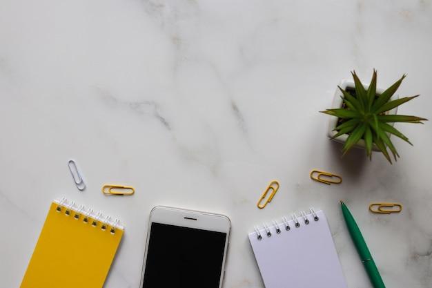 Bovenaanzicht bureau met blocnotes, pen, smartphone en vetplant.