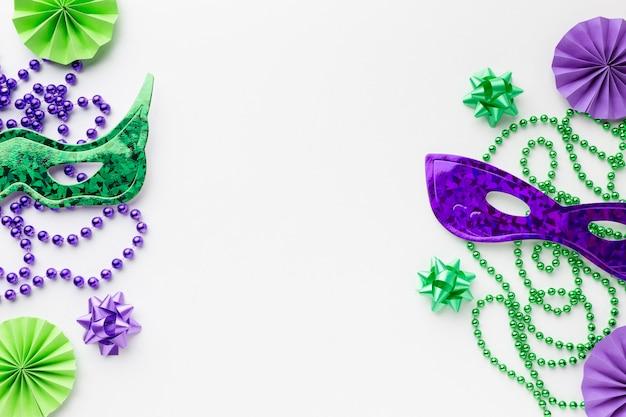 Bovenaanzicht carnaval maskers kopiëren ruimte