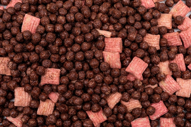 Bovenaanzicht chocolade granen ballen oppervlak