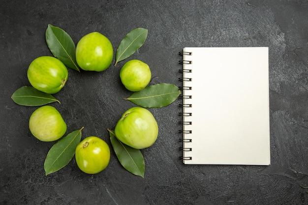 Bovenaanzicht cirkel van groene tomaten en laurierblaadjes een notitieboekje op een donkere ondergrond