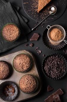 Bovenaanzicht collectie van heerlijke desserts