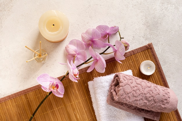 Bovenaanzicht concept met spa items